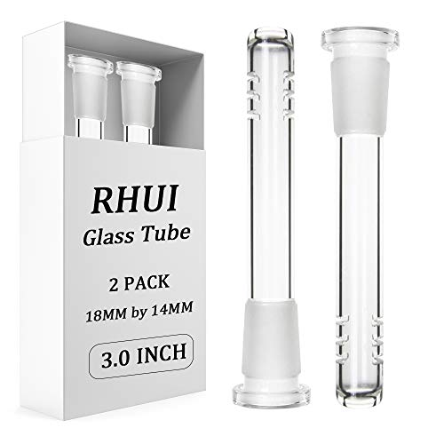 2 Pack 18mm by 14mm Stem Clear Scientic Glass Tube Downstem Adapter (3 inch)