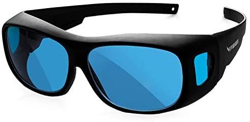 VIVOSUN Indoor Hydroponics Anti UVA and UVB Grow Room Glasses Goggles with Glasses Case, Blue