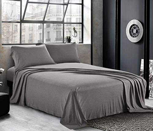 Pure Bedding Jersey Sheets Queen [4-Piece, Dark Gray] Cotton Bed Sheets - Extra Soft Cotton Sheet Set, Cozy T-Shirt All Season Heather Sheets - Deep Pocket Fitted Sheet, Flat Sheet, Pillow Cases