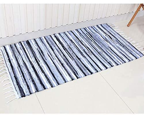 "Chindi Rug Reversible Rag Cotton Hand Woven Throw Area Rugs for Kitchen Bedroom Bathroom Livingroom Washable Stripe Grey 22"" x 36"""