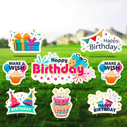 GloBal Pass Happy Birthday Yard Sign, Outdoor Lawn Decorations, Happy Birthday Yard Signs with Stakes, Birthday Party Decoration Yard Signs, Set of 8, Style 7
