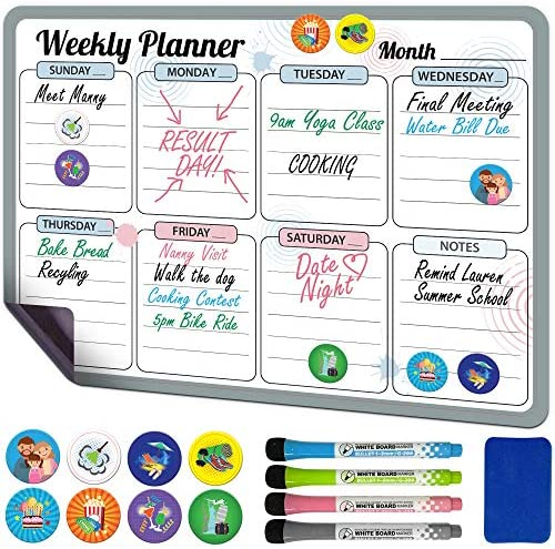 "Magnetic Dry Erase Calendar for Fridge Weekly 17 x 12"" - Magnetic Calendar for Refrigerator - Whiteboard Calendar with 8 Event Magnets and 4 Markers"