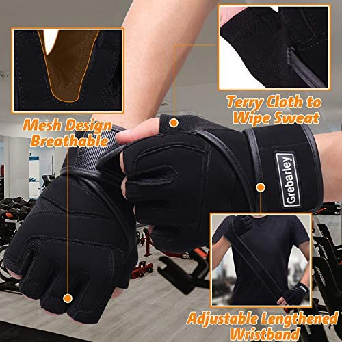 Grebarley Workout Gloves Breathable Weight Lifting Gloves Gym Gloves Grip Gloves Fitness Gloves with Full Wrist Strap for Men & Women, Enough Palm Protection and Strong Grip.