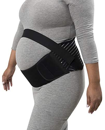 Houseables Maternity Belly Band and Abdominal Binder, Breathable Pregnancy Support Belt, Size Large, Black, Elastic Waist Support, Prenatal Back Brace, Pain Relief Wrap