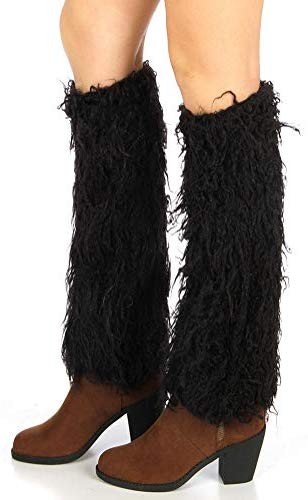 Faux Fur Leg Warmers for Women Girls Winter Warm Leg Warmers Fuzzy Furry Soft Long Boot Cuffs Covers