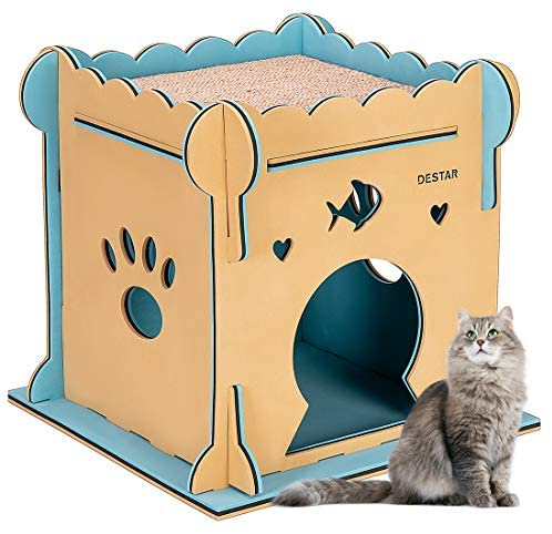 DEStar Indoor Outdoor Waterproof EVA 3D Jigsaw Puzzle Cat House Easy Set-up DIY Pet Shelter with Kitty Scratching Board