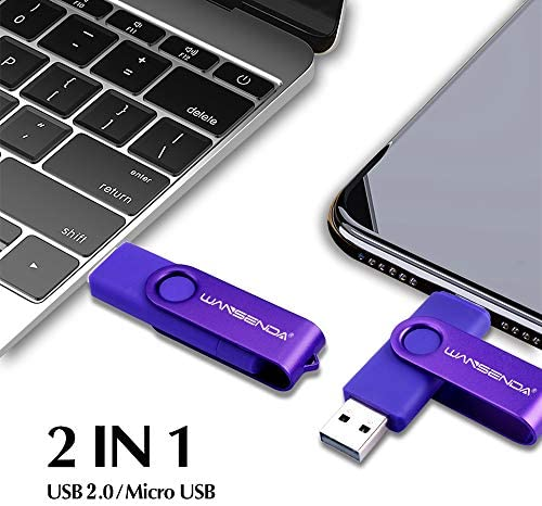 128GB OTG USB Flash Drive Wansenda 2 in 1 Android Photo Stick Micro Port & USB 2.0 Pen Drive with Led Indicator for Android Phone/PC/Tablet/Mac (Purple)