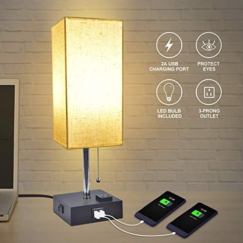 USB Bedside Table Lamp, Golspark Minimalist Nightstand Lamp with Charging Ports, Lamps for Bedrooms, Fabric Linen Lamp Shade, Modern Desk Lamp with Pull Chain (Square Table lamp)