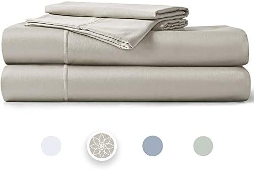 """Hyde Lane 400TC Sateen Cotton Queen Sheet Set Paloma  4 Piece – Fitted, Flat Sheet & Shams   Stretches Up to 14"""" to Cover Most Mattress Sizes - Retains Elasticity   Super Soft- Shrink & Pilling Proof"""