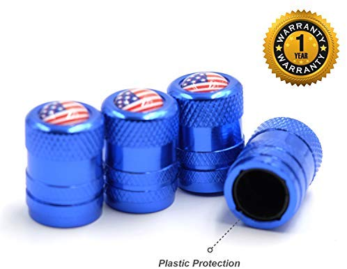 CK Auto 4 Pcs Aluminum Tire Valve Stem Caps with American USA Flag Logo, Universal Dust Proof Stem Covers, TPMS Safe & Corrosion Resistant, Blue