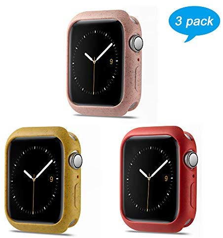 3 Pack Miniseas Environmental Protection Material case Compatible with Apple Watch case 42MM Protective Bumper Cover for iwatch Series 3/2/1(RED Pink Yellow,42MM)