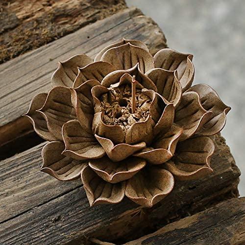 Sunormi Clay Lotus Cone Incense Burner Flower Backflow Sticks Incense Holder 4.5 Inch with 20 Incense Cones Set for Yoga Studio Living Room