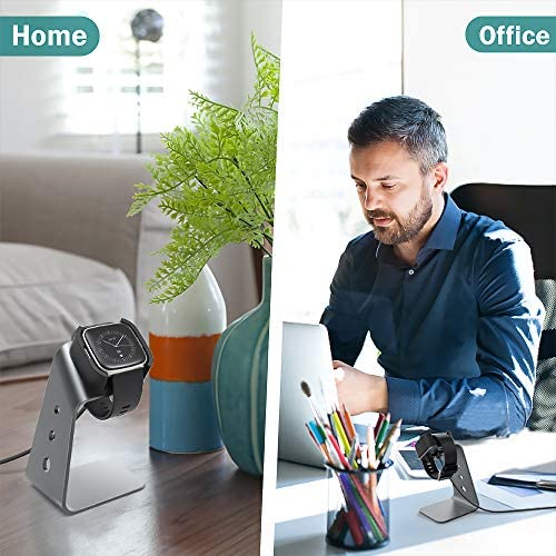 TUSITA Charger Stand Compatible with Fitbit Versa 2 (Not for Fitbit Versa lite SE) - USB Aluminum Charging Dock 5ft 150cm - Fitness Smartwatch Accessories