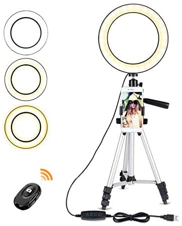 5.7 Ring Light with Tripod Stand - Dimmable Selfie Ring Light LED Ringlight with Tripod and Phone Holder for Live Stream/YouTube Video, Compatible for iPhone Android, Remote(Upgraded)