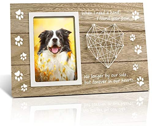 SEVENS Pet Memorial Frame for Dog & Cat, Paw Prints Sympathy Frame for Pet Loss, 4x6 Inches Photo