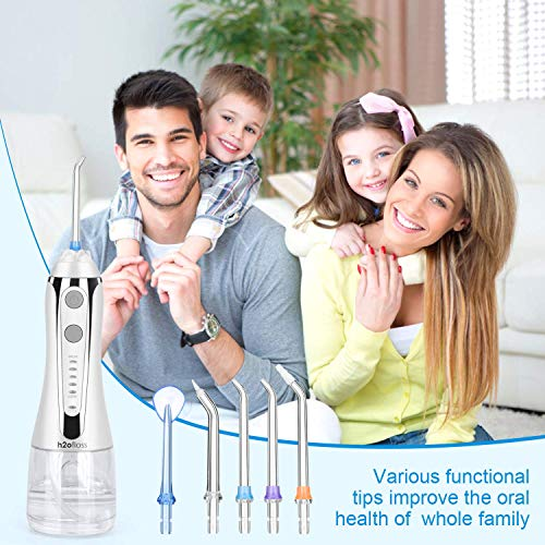 H2ofloss Dental Water Flosser with 42 days battery lasting time, Cordless Oral Irrigator With Travel Bag For Teeth And Braces, IPX7 Waterproof Water Floss, 5 Modes, 2020 Upgraded (HF-2)
