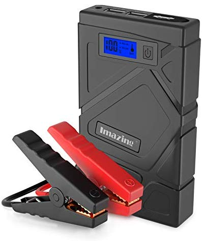Imazing Portable Car Jump Starter 600A Peak (Up to 3.5L Gas or 2L Diesel Engine) 12V Auto Battery Booster Portable Power Pack with Smart Jumper Cables