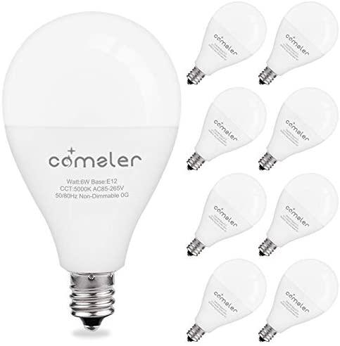 LED Ceiling Fan Light Bulbs,Comzler A15 LED Light Bulb, 60 Watt Equivalent E12 Candelabra Base Light Bulbs, Daylight 5000K, 600LM, CRI > 80, Non-dimmable, 8 Pack