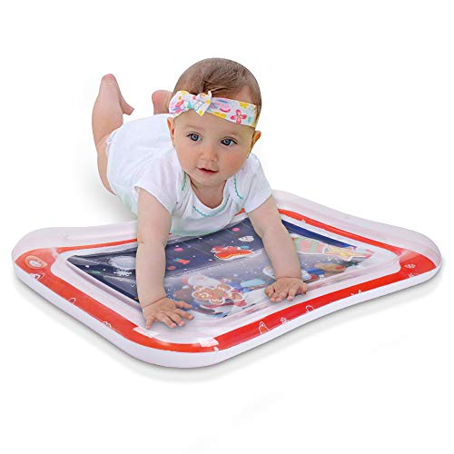 InflateJoy Tummy Time Mat, Water Play Mat with Squeaker and 6 Premium PVC Fun Toys, Baby Activity Center for 3 6 9 Months Infants, New Christmas Package Perfect for Gift