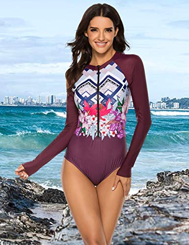 SELINK Women's Long Sleeve Rash Guard UV Protection Zipper Printed Surfing One Piece Swimsuit Bathing Suit