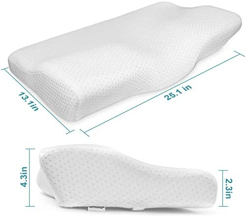 SEPOVEDA Contour Memory Foam Pillow,Orthopedic Sleeping Pillows for Side, Back and Stomach Sleepers Ergonomic Cervical Pillow for Neck Pain Standard