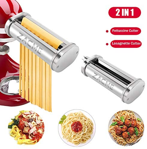 Pasta Maker Attachment, ZACME Stainless Steel Pasta Cutter Attachments for KitchenAid Stand Mixers, Including Durable Spaghetti Cutter, Fettuccine Cutter and Cleaning Brush, 2 Pack (Silver)