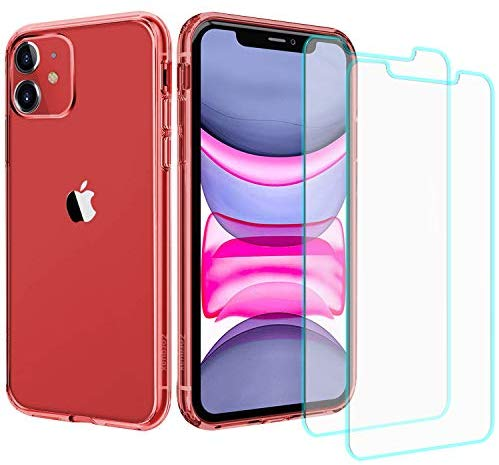 "Case + Screens Protection Pack iPhone 11 (6.1"") Zorquax Slim Transparent Clear Case Hybrid (Hard PC Back, Soft TPU Sides) Shockproof Case-on Charging Case with 2X 9H Tempered Glass Screen Protectors"
