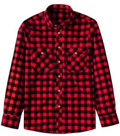 Souactimuy Men's Plaid Flannel Shirt Button Down Long Sleeve Casual Regular Version
