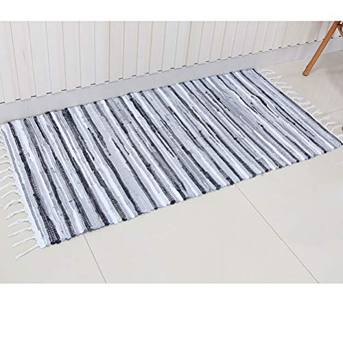 Chindi Rug Reversible Rag Cotton Hand Woven Throw Area Rugs for Kitchen Bedroom Bathroom Livingroom Washable Stripe Grey