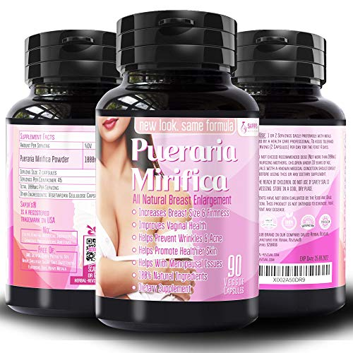 Natural Pueraria Mirifica Daily 2000mg Supplement - Breast Enhancement Pills for Women - Breast Enlarger, Vaginal Health, Menopause Relief, Skin & Hair Health 90 Vegetarian Capsules
