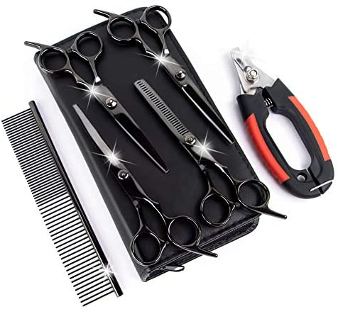PETRIP Dog Scissors for Grooming Kit -5CR Stainless Steel Dog Pet Grooming Scissors Set, Thinning, Straight, Curved Shears Clippers Comb for Pets Cats