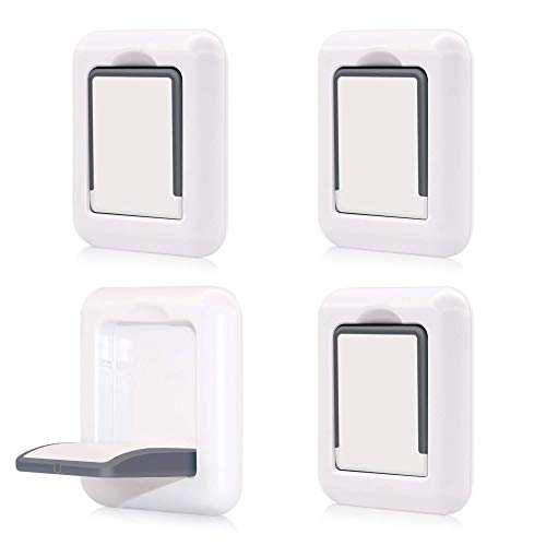 SINVNE Upgraded Sliding Door Lock Child Safety 4 Pack Sliding Window Locks with Strong 3M Adhesive No Screws Baby Safety Locks for Sliding Doors Windows Proof Patio Closet Cabinets Shower