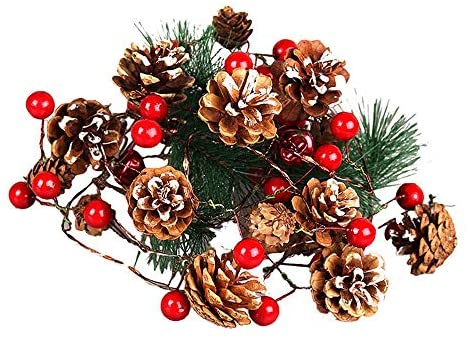 Christmas Pine cone Lights, Red Berry with Bell Garland Lights, 9.8 ft 40 LED Battery Powered String Lights with 12 Flicker Modes Remote Timer, Perfect for Thanksgiving Day, New Year Parties