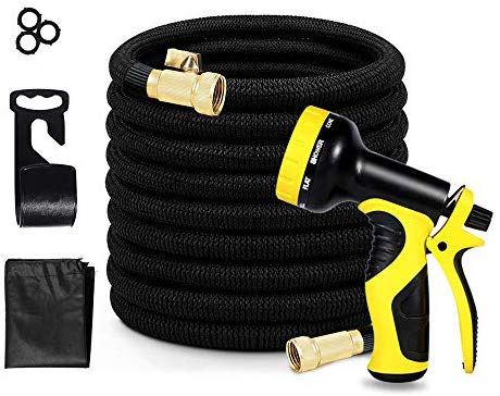 ATHLDYN 50ft Expandable Garden Hose, Flexible Water Hose with Heavy Duty Latex Core, 9 Function Spray Nozzle for Garden Lawn, Car Washing, Pet Washing