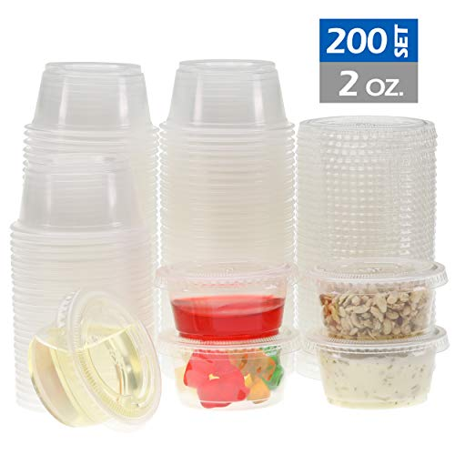 Freshware Plastic Portion Cups with Lids [2 Ounce, 200 Sets] Souffle Cups, Jello Shot Cups, Condiment Sauce Containers For Sampling, Sauce, Snack or Dressing