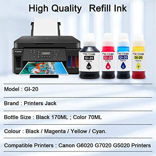 Printers Jack Compatible Canon GI-20 GI20 Refill Ink Bottles Kit for Canon PIXMA G5020 G6020 G7020 MegaTank Printers
