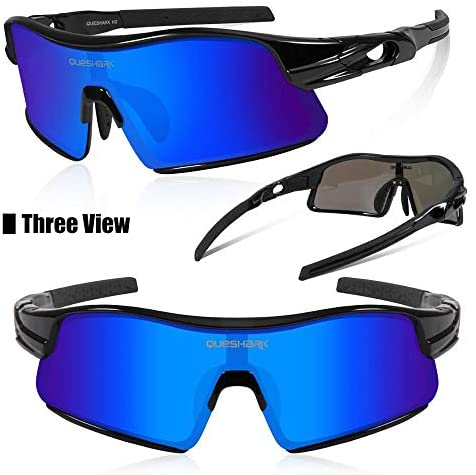 Queshark Polarized Sports Sunglasses with 4 Interchangeable Lenses for Men Women Cycling Running Driving Fishing Golf Baseball Glasses UV400 Protection