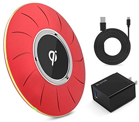 BLAVOR Qi-Certified Wireless Charger Fast Charging Pad 10W/7.5W/5W Compatible with All Qi-Enabled Phones(QC 3.0 Adapter and 4.9ft Charging Cable) (Red)