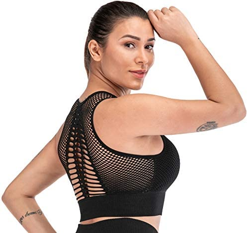 RUNNING GIRL Racerback Sports Bra, Medium Impact Mesh Longline Yoga Bra Workout Crop Tops with Removable Cups