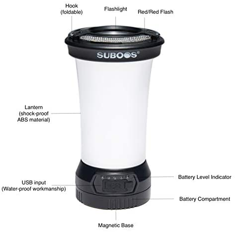SUBOOS Multi-Use Compact Rechargeable Camping Lantern with Magnetic Base, Portable LED Night Light, Beside Lamp, Work Light and Emergency Light - 5 Year Warranty
