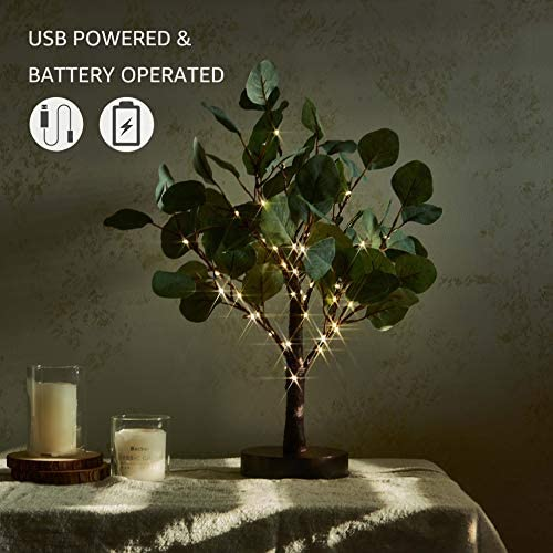 Hairui Lighted Tabletop Eucalyptus Tree with Timer 18IN 50 LED Battery Operated/USB Powered for Wedding Christmas Party Home Spring Decor