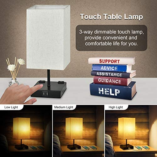 Touch Bedside Lamp, Sailstar 3 Way Dimmable Table Lamp, Nightstand Touch Lamp with 2 USB Charing Ports and 2 Outlets, Fabric Lampshade & Square Base lamp for Bedside Bedrooms Living Room