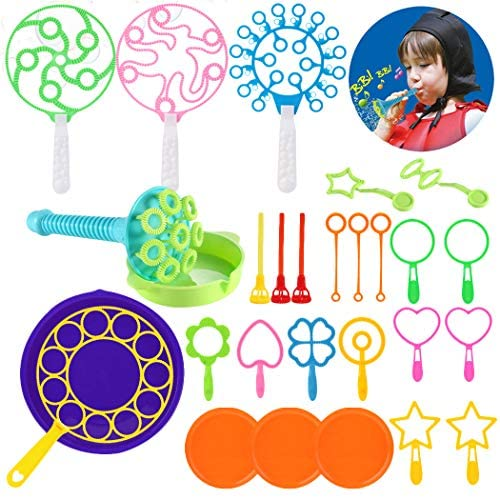 Coxeer Bubble Wands Set, 28PCS Colorful Bubble Wand Toy Set Multihole Bubble Toys Bubble Making Wand for Kids Outdoor Playtime & Birthday Party & Game Toy Nice(Random Color 1)