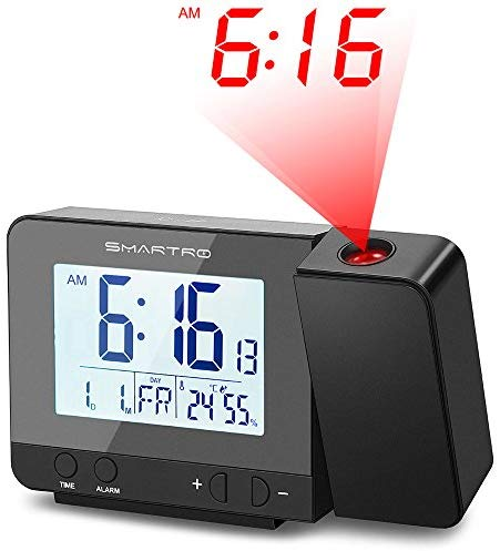 SMARTRO Digital Projection Alarm Clock with Weather Station, USB Charger, Dual Alarm Clocks for Bedrooms, AC & Battery Operated