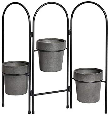 H HOMEBROAD. Metal Decor Plant Stand 3 Tier Folding Plant Pot Holder for Small Planters Succulents Display Indoor Home Patio Garden,Living Room (19 Inch)
