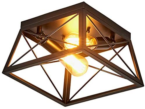 SHUNGYU Industrial Flush Mount Ceiling Light, Farmhouse Light Fixture for Hallway, Entryway, Passway, Dining Room, Bedroom, Balcony Living Room Two-Light