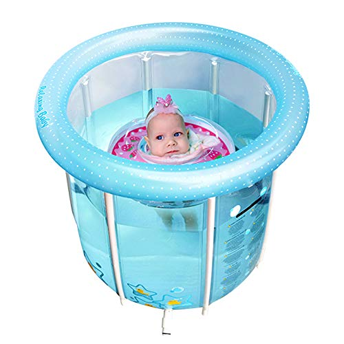 InflateJoy Inflatable Baby Bathtub, Portable Bathing Tub for 1-18 Months Newborns, Infants, Toddlers Recreation Training Uses, Perfect Travel Swimming Pool Bathing Gear with Air Pump, Quick Drain.