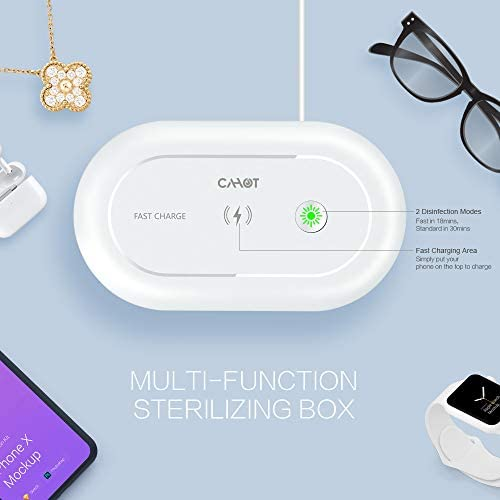 Cahot UV Light Sanitizer Box, Portable Phone UVC Light Sanitizer, UV Sterilizer Box with Aroma Diffuser, Fast Charging for Smart Phone, UV Sterilizing Box for Cell Phone, Jewelry, Watches, Glasses