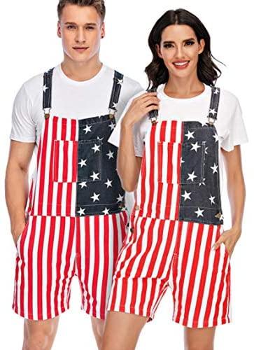 YXLUOKY Unisex Men's Women's Patriotic American Flag Print Denim Bib Overall Shorts Jeans