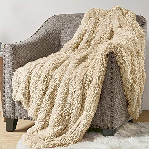 Hyde Lane Faux Fur Throw Blanket - 2 Way Reversible | Luxury Shaggy Long Faux Fur & Cozy Cream Mink | - Beige, 50x60